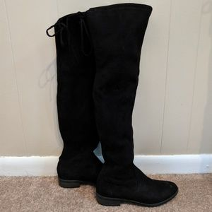 Over the knee, black suede boots